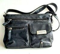 ROSETTI Black Vegan Leather Crossbody Multi Pockets Medium Handbag NWOT!