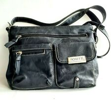 ROSETTI Black Vegan Leather Crossbody Multi Pockets Medium Handbag NWOT!