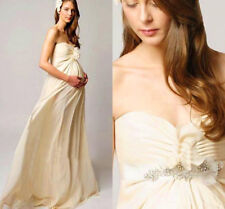 Champagne Empire Chiffon Pregnant Maternity Wedding Dress Pregnant Bridal Gowns
