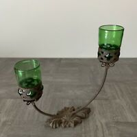 Vintage Hand Blown Green Glass Candle Holder with Iron Cage 2 Candles Table Top