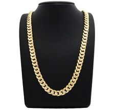 "NECKLACE 14K Gold Filled Solid Cuban Link Chain 24""...NEW"