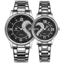 NEW Couple Lover Dial Stainless Steel Men Women Wrist Watch Analog Quartz - 2pcs