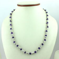 Necklace natural purple amethyst 5 mm beaded gemstone 20 grams