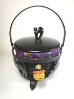 2008 Longaberger Small Cauldron Basket Combo with Black Cat Knob & Wrought Iron