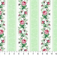 Clearance Sale~Julia's Garden~Rose Stripe~Floral Cotton Fabric by Northcott