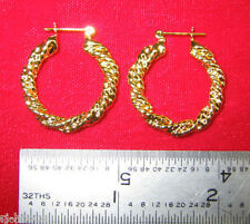 "Made in USA - Gold Plated Rope Design ~1"" Hoop Earrings"