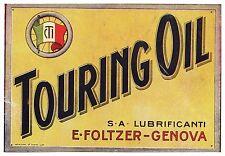 PUBBLICITA' 1923 TOURING OIL FOLZER SU CARTA TARGA GENOVA OLIO AUTO D'EPOCA MOTO