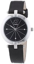 TIMEX SILVER TONE,BLACK LEATHER BAND,BLACK DIAL,CLASSIC WATCH-T2P544