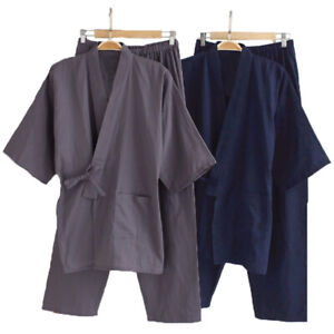 Hommes Ensemble de robe et pantalon kimono japonais en vrac 100% coton pyjamas