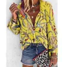 Women Plus Size Fashion Casual T-shirt Long Sleeve Button Blouse Ladies Iron 14