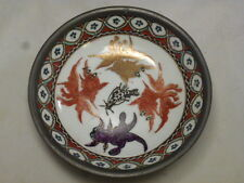 Vintage Japanese ISCO Porcelain And Pewter Bowl 5 3/4""