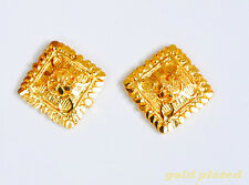 24 K Gold Plated Stud  Earrings Indian Asian Jewelry yellow Gold Earring  ua2