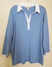 JONES NEW YORK Sport Nautical Top Size 2X Blue Stripe Cotton Pullover ¾-Sleeve