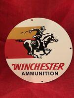 VINTAGE style ''WINCHESTER'' AMMUNITION  PORCELAIN GAS & OIL SIGN 12 INCH