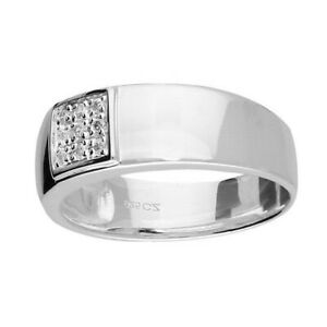 Men's Wide Band Ring With Gemstones Solid Sterling Silver Full Hallmark Size R-Z