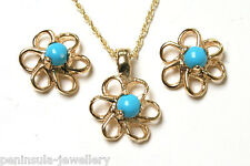 9ct Gold Turquoise Flower Pendant Necklace and Earring Set Made in UK Gift Boxed