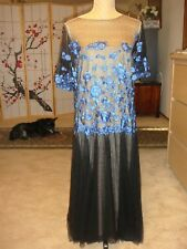 Tadashi Shoji Collection NEW FLORAL APPLIQUE + TULLE EVENT GOWN in BLUE/BLK US18
