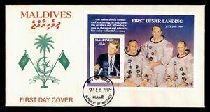 DR WHO 1989 MALDIVES FDC JFK SPACE FIRST LUNAR LANDING S/S  C239862