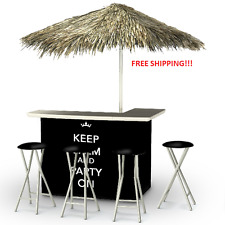 Small Outdoor Bar Tiki Set Patio Keep Calm And Party Black With Chairs Entertain