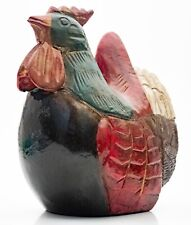 More details for stylised large colourful painted carved polished wooden chicken rooster ornament