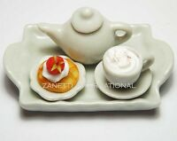 Dollhouse Miniature Food with Coffee Cup on a Ceramic Tray * Mini Waffle Plate