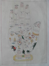 "Vedic Palmistry Chart, Symbols & Nepal Text, Hand Drawn in Ink, Vintage, 8¾""x11"""