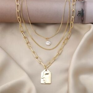 NEW! Triple Layer Chain Multi Strand Necklace Layered Pearl Gold Face Pendant