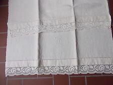 antique vtg French metis slub linen crochet lace pillow sheet 29x57 monogram RB