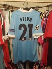 Man City Football Shirt 2015/16 Home Large ~ Silva 21 Champions League