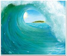 SURF WAVE Scene Setter party wall decoration kit 6' scenic window ocean beach