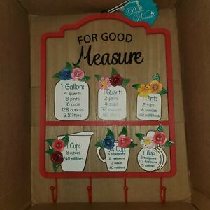 Pioneer Woman For Good Measure Sign With Hooks Spring 2021 Decor Decoration