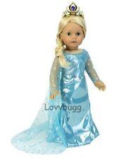 "Frozen Blue Princess Costume Tiara Snow Queen Elsa for 18"" American Girl Doll"