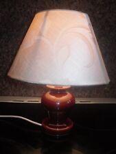 Small ORIGINAL Ceramic Dark Brown Bedside Table Lamp With Modern Cream Shade