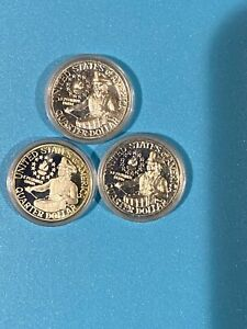 Lot of Three 1976 Bicentennial SILVER Quarters;  Proofs in Plastic Capsules SC76