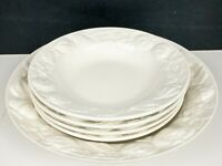 LOT 5: Williams Sonoma Italy I Patrizi White Pasta Spice Pattern Bowls & Platter