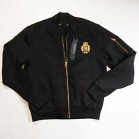 Hudson Outerwear mens 100% authenitc L/S zip up bomber jacket size large black