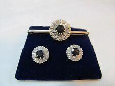 Vintage Diamond & Sapphire Earrings and Bar Brooch