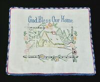 """Vintage GOD BLESS OUR HOME Doily Table Mat Hand Embroidery Forest Cottage 18x22"""""""