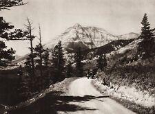 1925 Vintage Print CANADA MOUNT GROTTO Alberta Mountain Road Landscape Photo Art