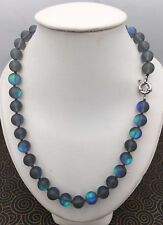 Natural 6/8/10/12mm Gray Gleamy Rainbow Moonstone Round Gems Beads Necklace AAA