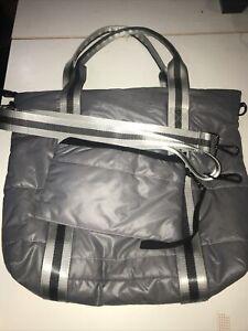 Haute Shore Gray Jaime Standard Puffer Large Crossbody Tote Bag W/Clutch MINT
