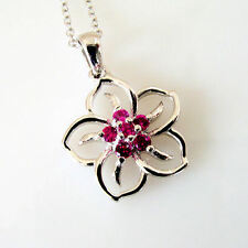 "Italy Sterling Silver .23 Cttw Created Ruby Flower Pendant Necklace 18"" Chain"