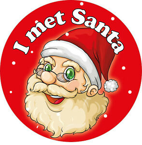 144 x I met Santa Stickers, Christmas Father Christmas labels Grotto Helpers RED