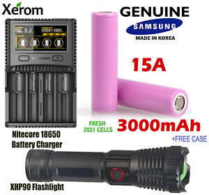 Flashlight + Samsung 3000mAh Lithium Li-Ion Rechargeable Battery + Charger