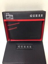 NEW ARRIVAL! GUESS BLACK GENUINE LEATHER BILLFOLD PASSCASE VALET WALLET $48 SALE