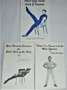 3 Vintage JACK LA LANNE BOOKLETS - DIET & EXCERCISES- 1 AUTOGRAPHED-EXCELLENT