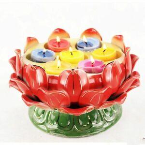 Seven Star Lotus Flower Candle Holder Ceramic Lamp Pink Candle Buddhist Holder