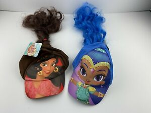 lot of 2 two hats shimmer and shine and elena of avalor hat with pony tail disne