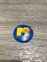 RARE Deadstock Vintage 1981 ORIGINAL BLUE MTV Logo Music Button Pin Pinback USA