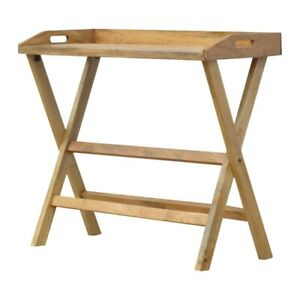 Solid Wood Butler Style Writing Desk with Foldable Legs